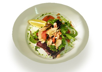 Smoked Salmon with crayfish, pink grapefruit, mixed salad and herb oil dressing